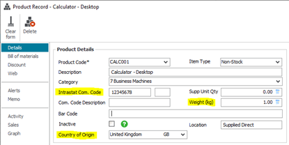 Sage 50 product record showing tariff code, weight and country of origin fields