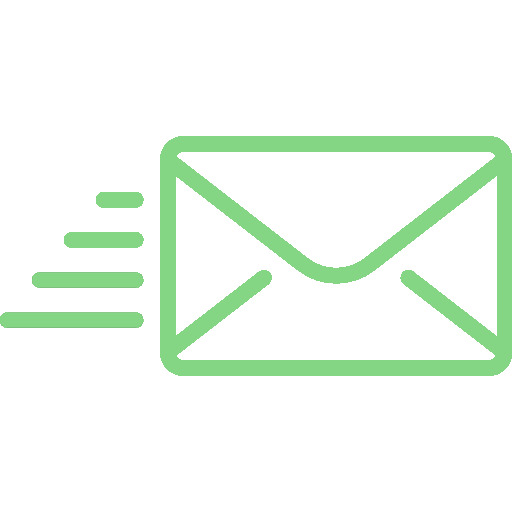 Green icon of an envelope with speed lines to represent an email.