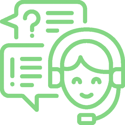 Icon of a telephone support worker representing remote support