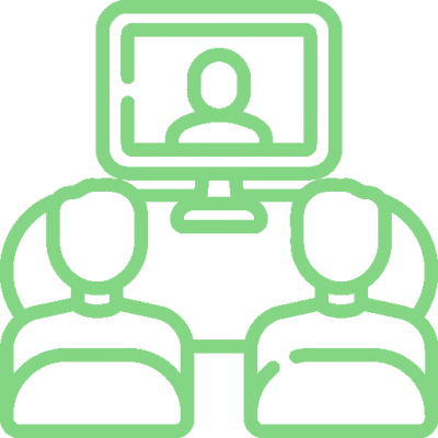 Icon of video conference via Zoom representing remote training
