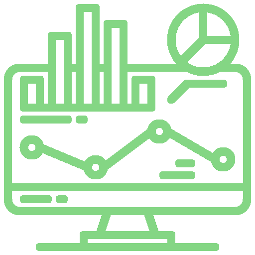 Icon of a monitor with graphs and charts representing report layouts