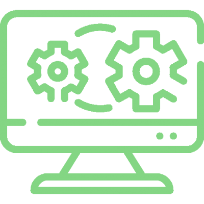 Icon of a monitor with cogs representing software setup