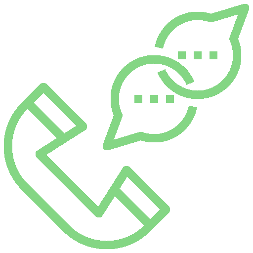 Green icon showing a telephone handset with two speech bubbles to represent a remote telephone support call.