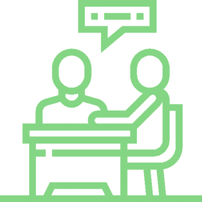 Icon of two people talking which represents in-person training on a business site